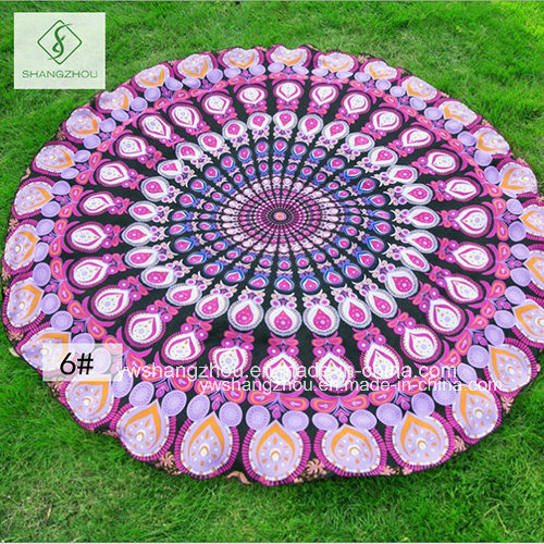 2017 Hot Sale Chiffon Round Beach Towel with Peacock Printed pictures & photos