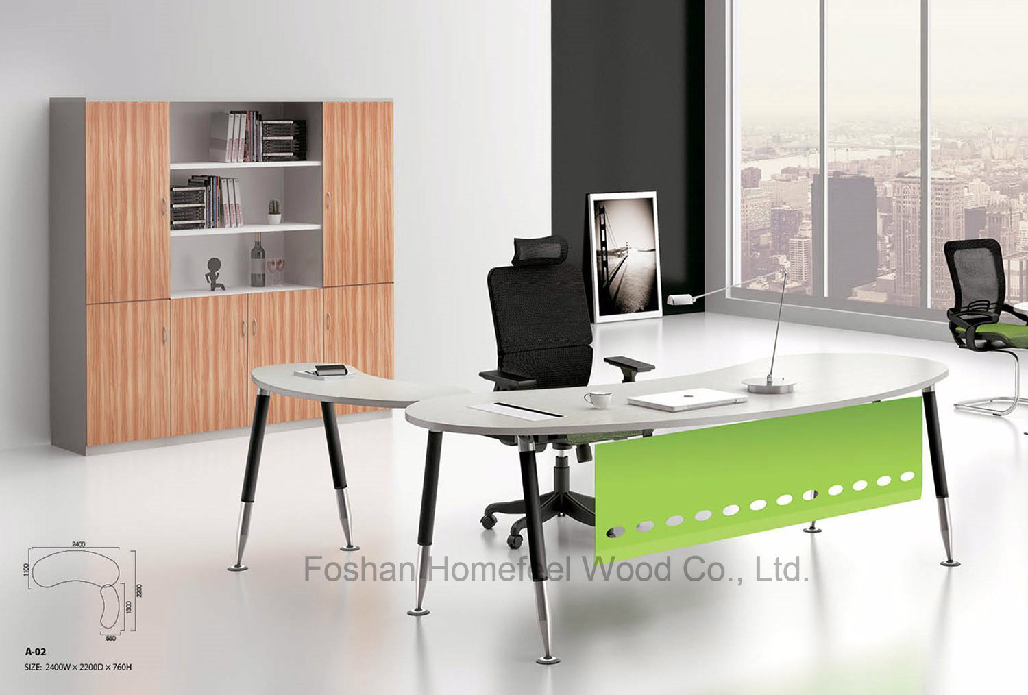Modern Commercial New Design Office Curved Manager Desk (HF-BSA01) pictures & photos