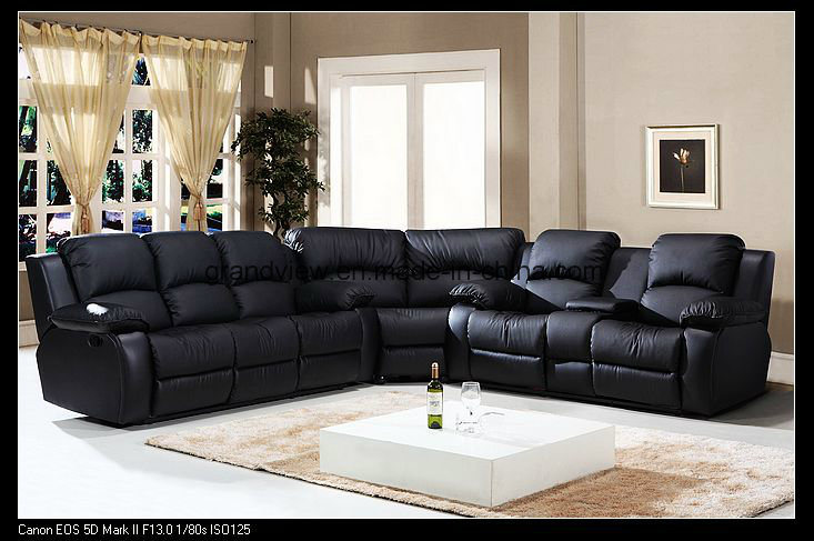 China Top Selling Black Leather Home Furniture Corner Recliner