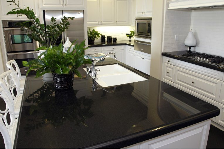 China Black Quartz Slab for Solid Surfaces Kitchen ...