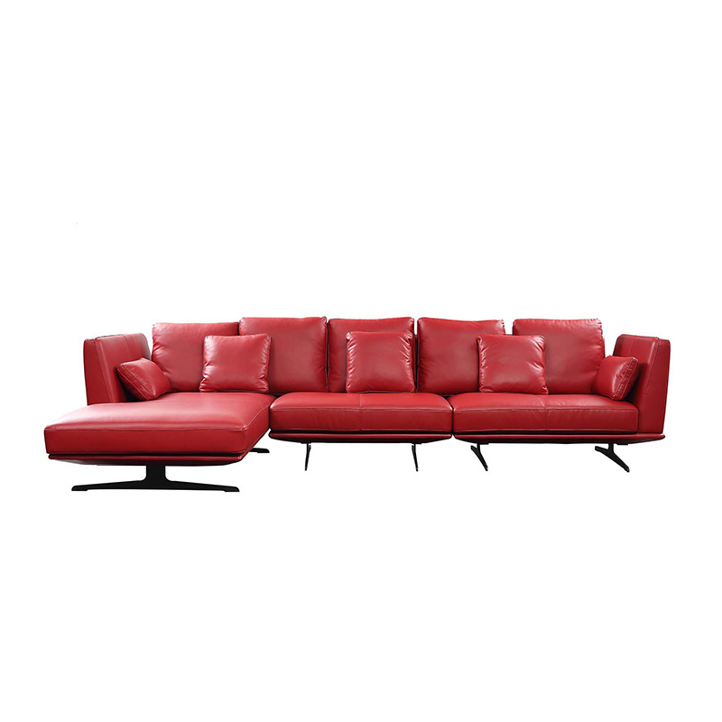 [Hot Item] Modern Red Sofa Bed Contemporary Steel Base L Shape Three Seater  Sofa