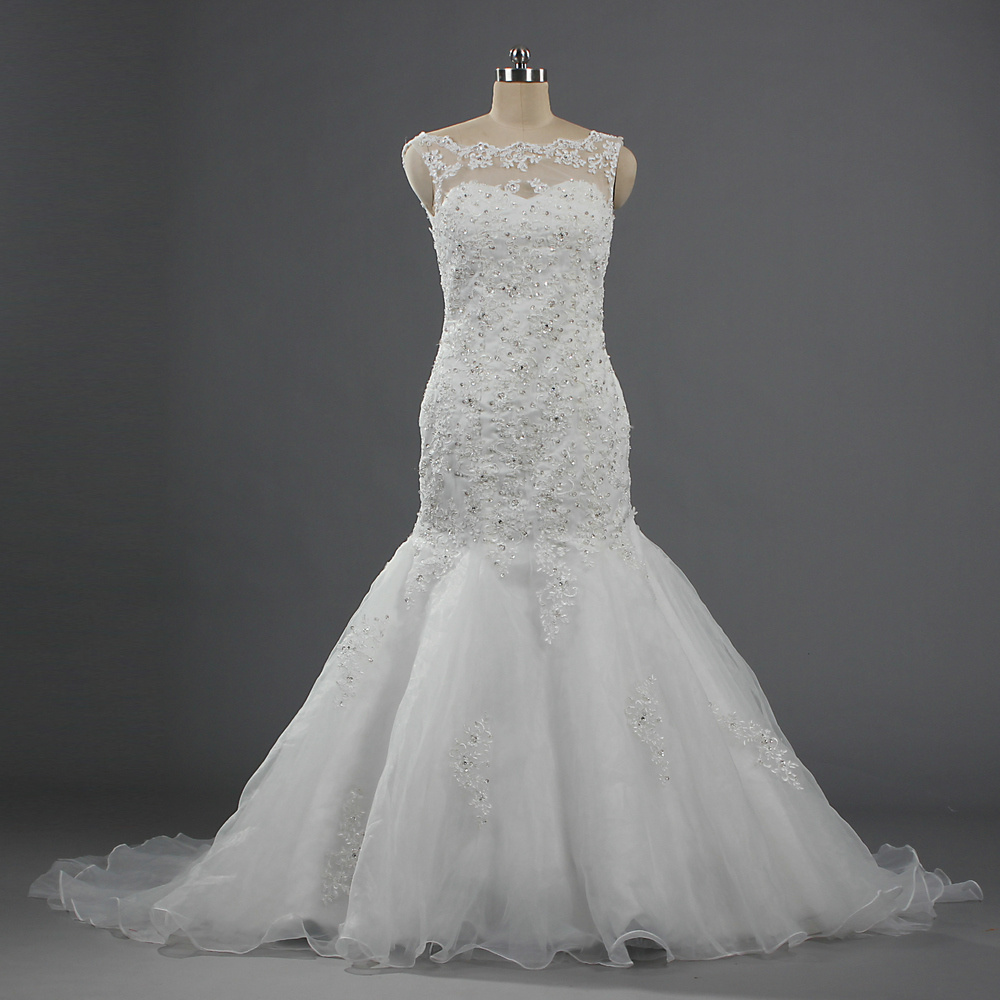 Hot Item W384 High Quality Crystal Lace Mermaid Trumpet Wedding Dresses Sleeveless