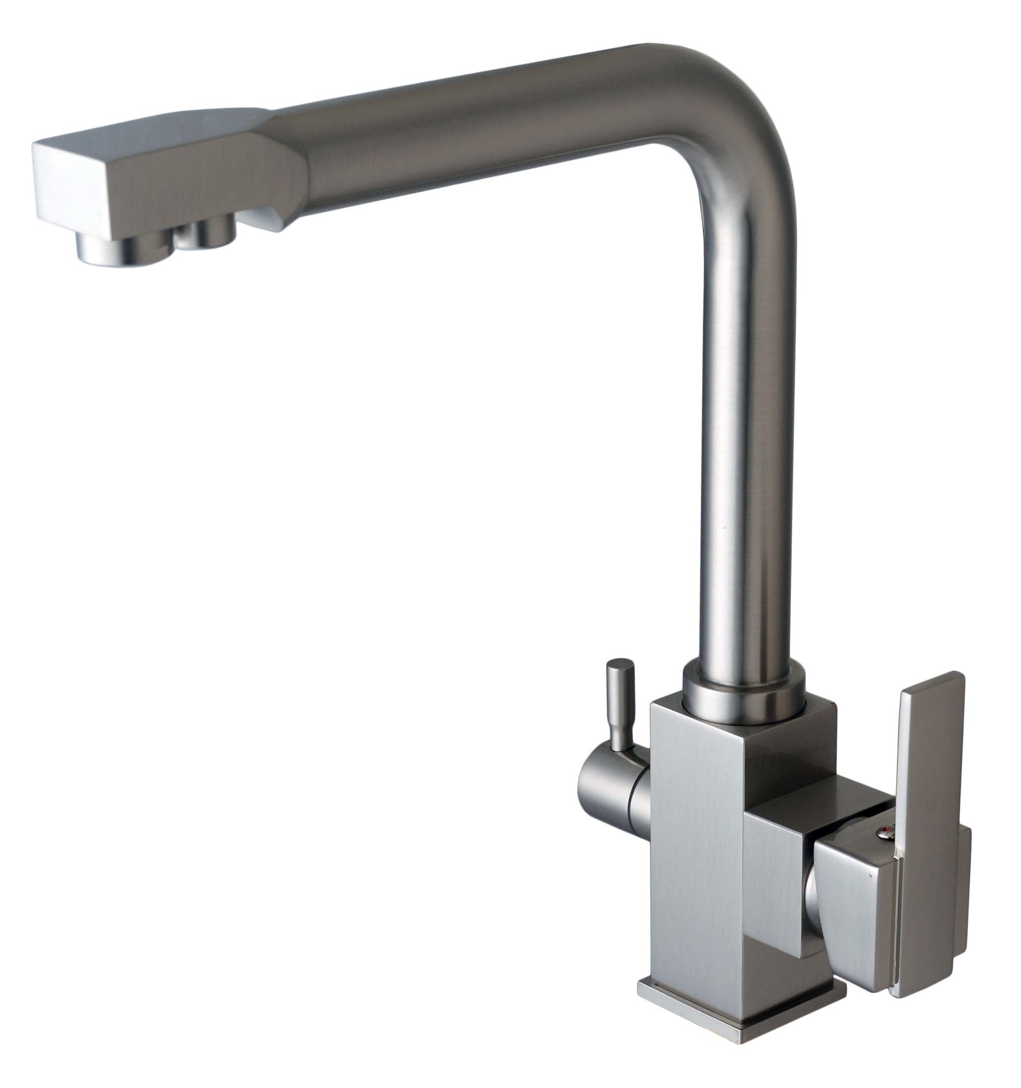 Hot Item Double Handle Brass Kitchen Sink Faucet With Drinking Water H23 100 Stst