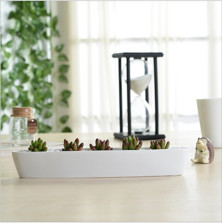 Mini Personalized Ceramic Olive Boat Shaped White Flowerpot pictures & photos