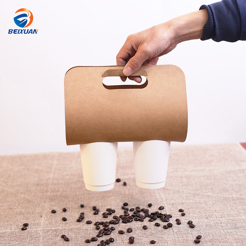 Kraft Paper Cup Lift Portable Cup Holder Takeaway Tray pictures & photos