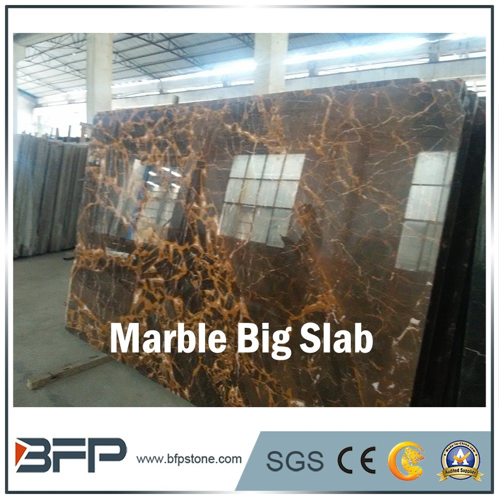 China Elegant Black Marble Floor Tiles Big Slab With Yellow Veins