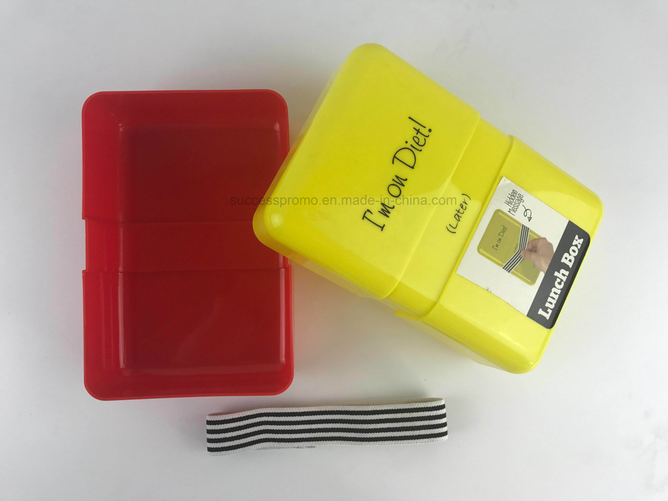 Good Quality Plastic Lunch Box with Elastic Band