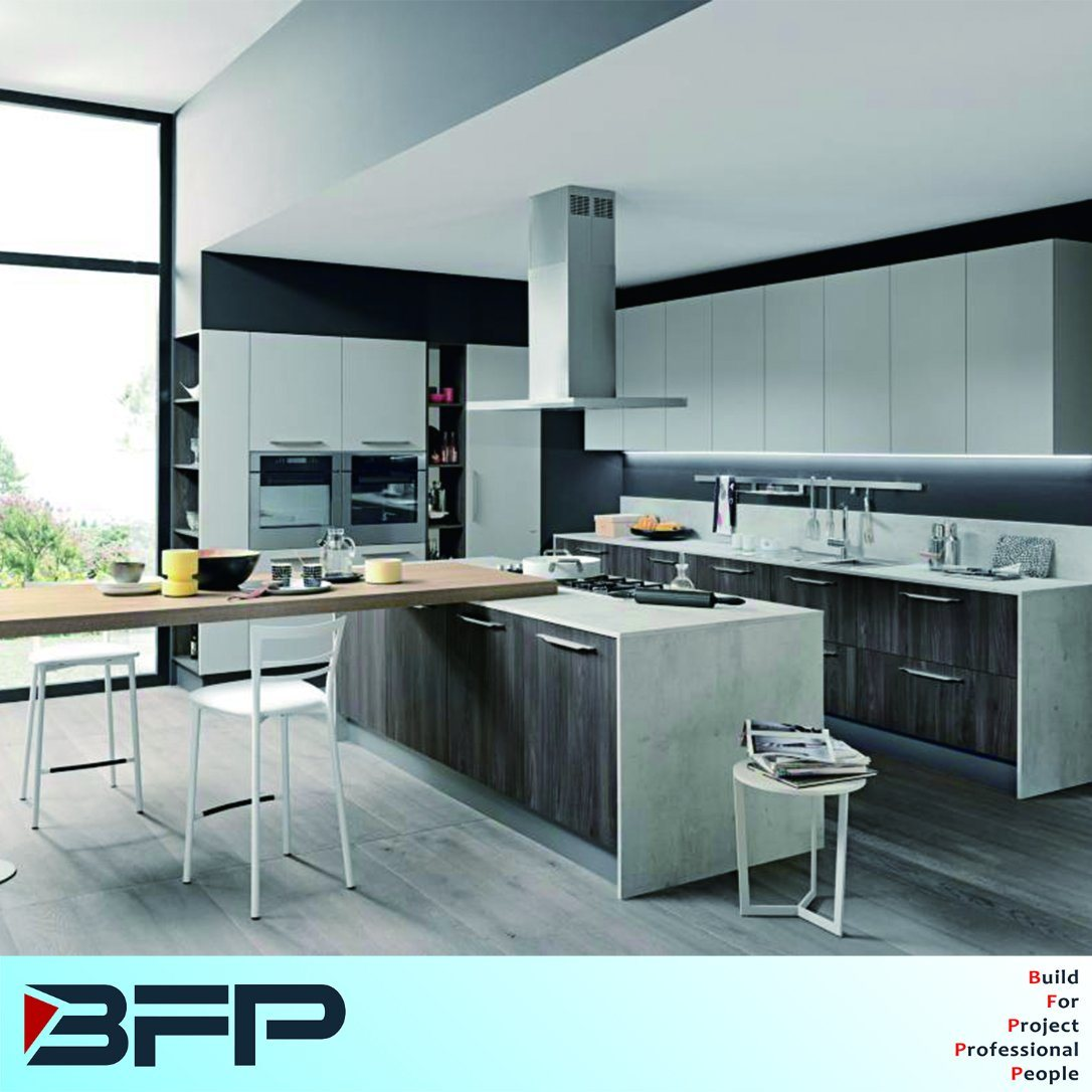 China Customized Melamine Kitchen with Quartz Countertop - China ...