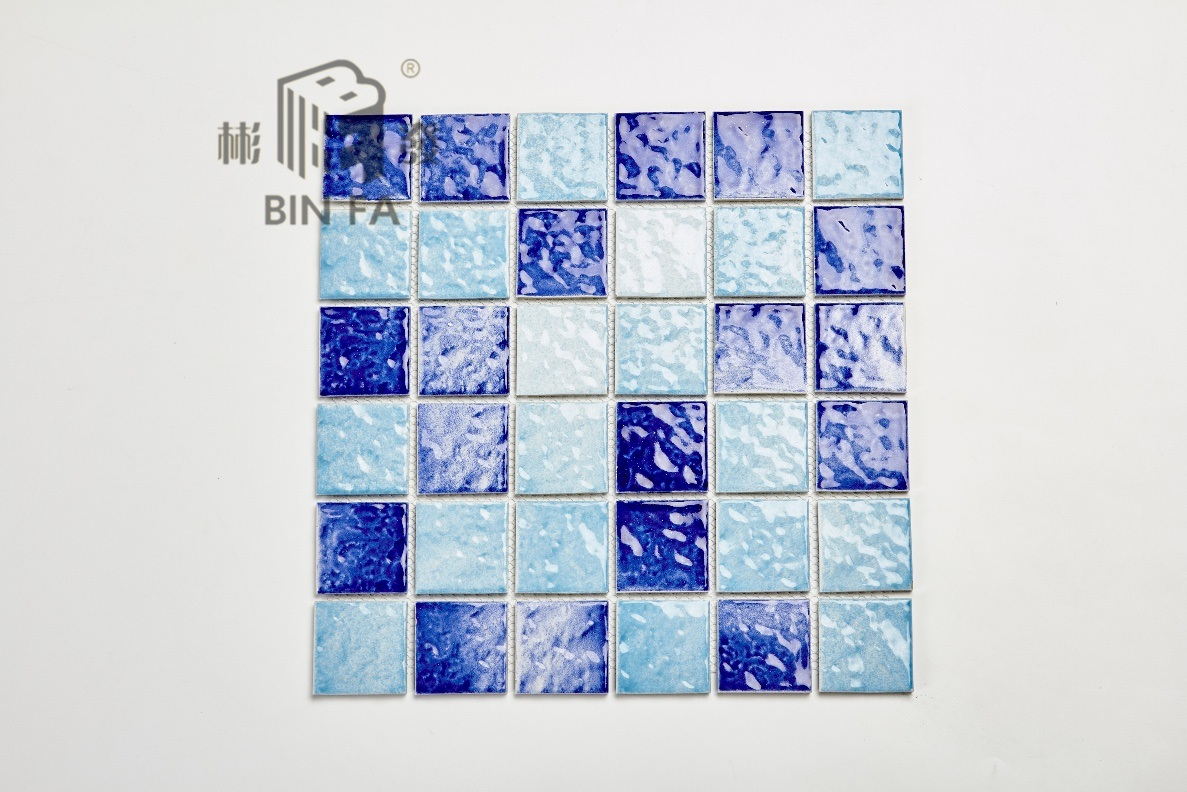 Hot Item 48x48mm Mixed Color Wave Pattern Porcelain Ceramic Mosaic Tile For Decoration Kitchen Bathroom And Swimming Pool
