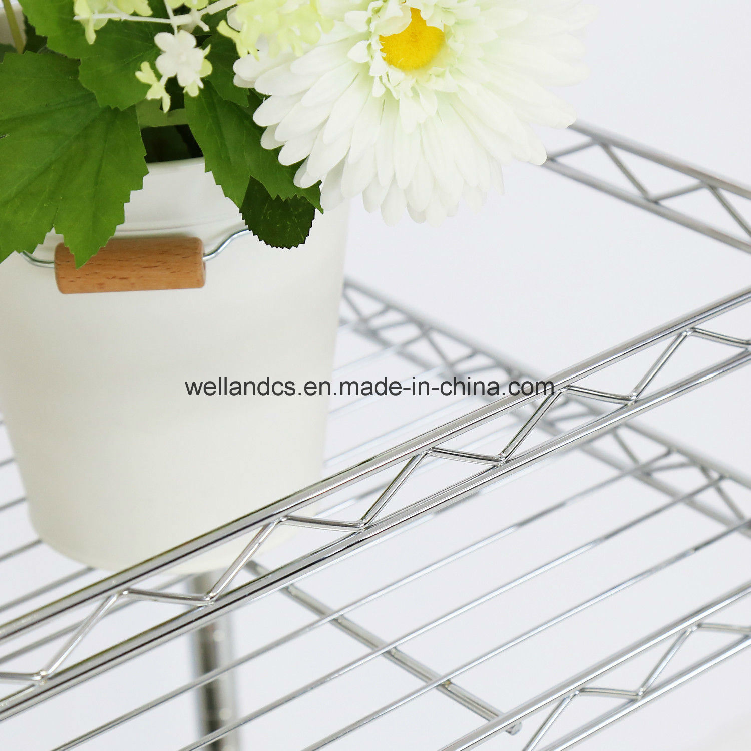 China Free Standing 2 Tier Adjustable Chrome Metal Wire Storage Rack ...