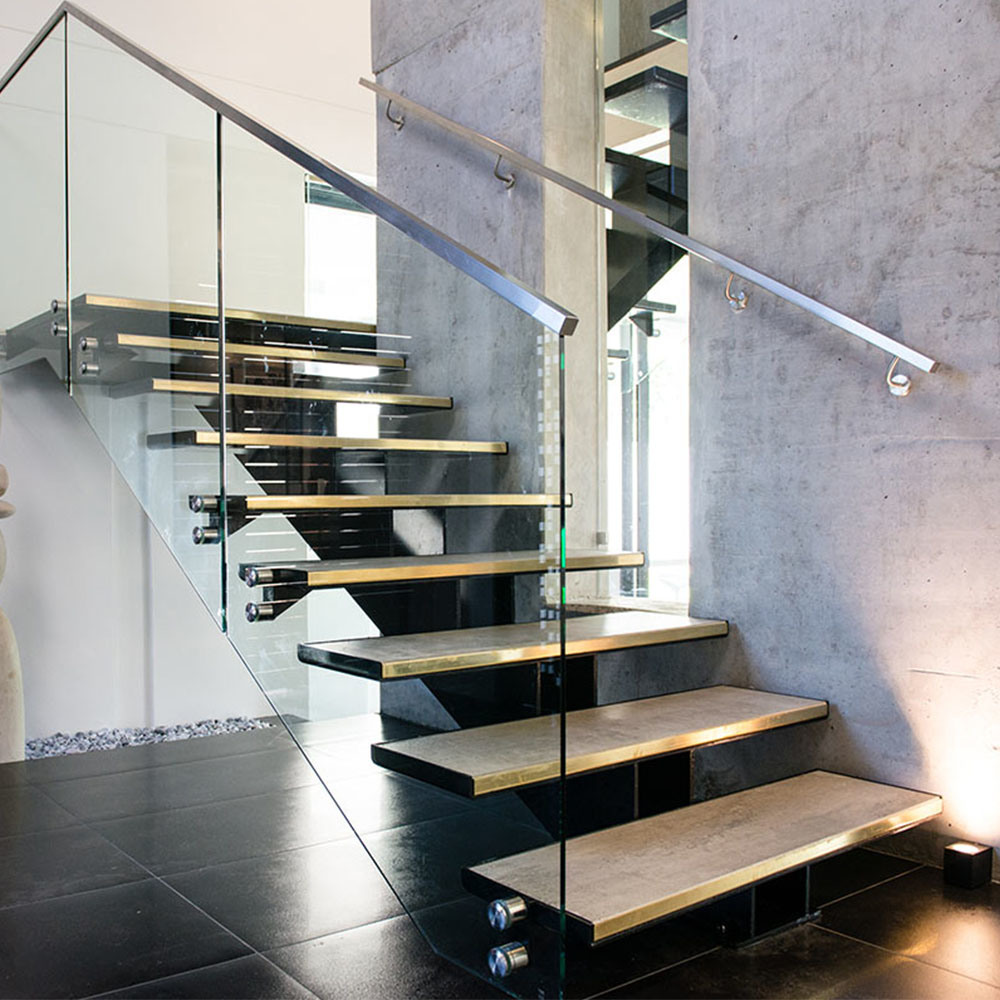 High Quality Indoor / Outdoor Luxury Staircase 304 316 Stainless Steel  Glass Handrail