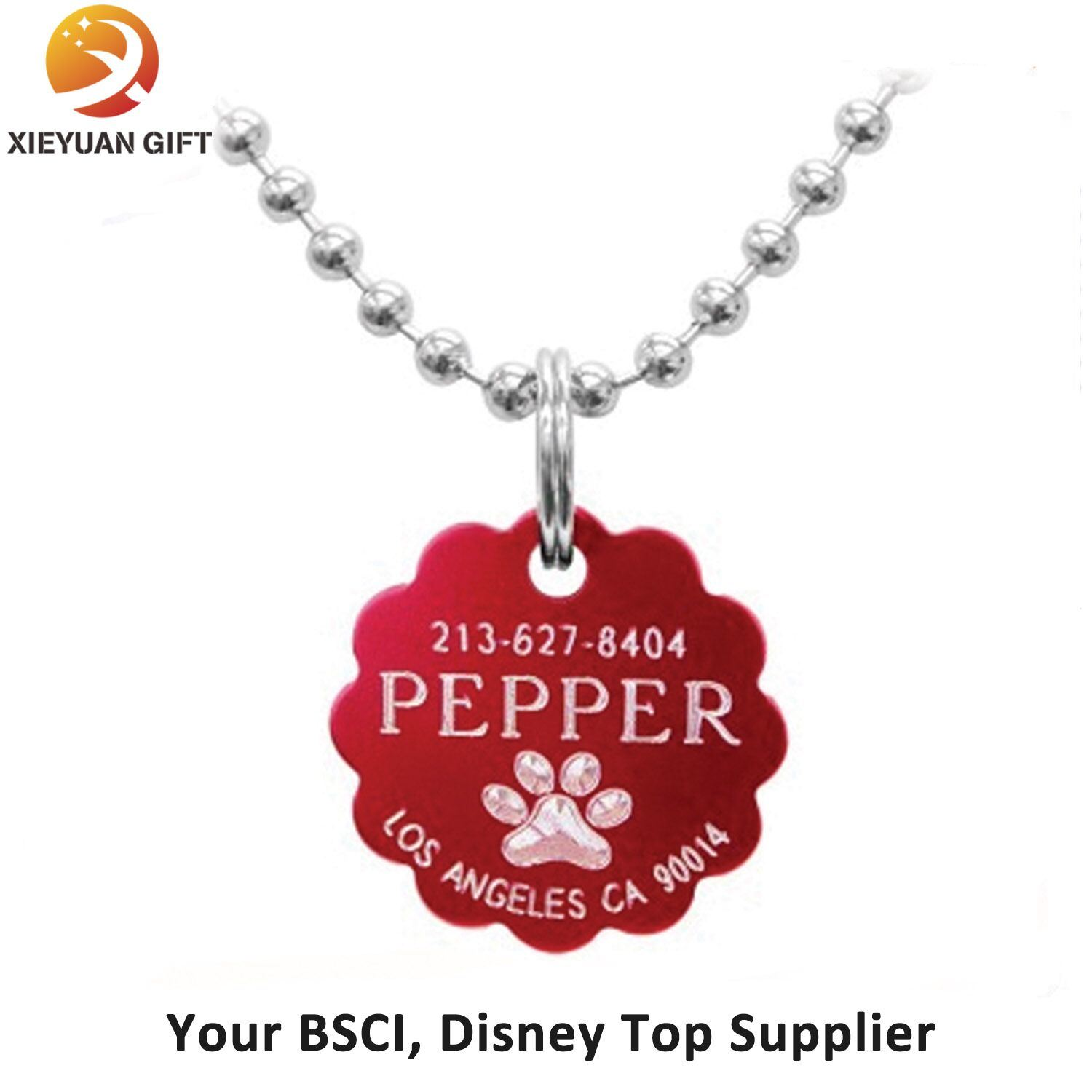 Hot Item Jewelry Personalized Dog Tag Red Silver Pets Tag Pendants
