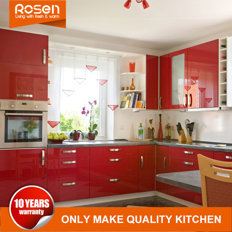 [Hot Item] Customized Red Colors Design Acrylic Laminate Kitchen Cabinets  Furniture