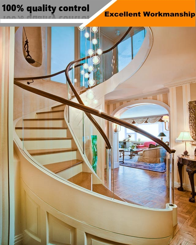 Prefab Steel Wood Straight Staircase / Arc Stairs /Spiral Stair With Glass  Steps