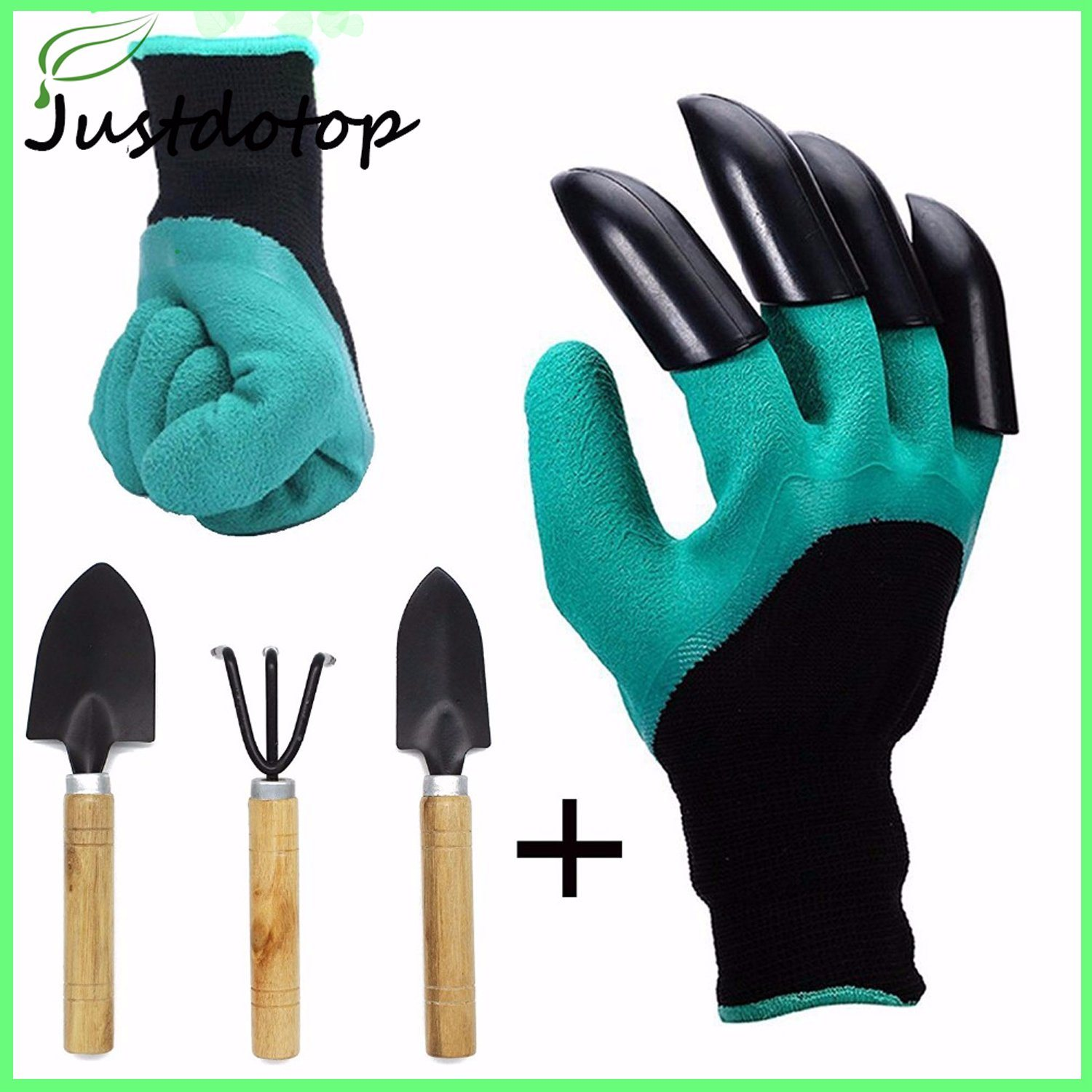 Hot Item Garden Genie Gloves With Claws And Extra 3 Pc Small Mini Tools