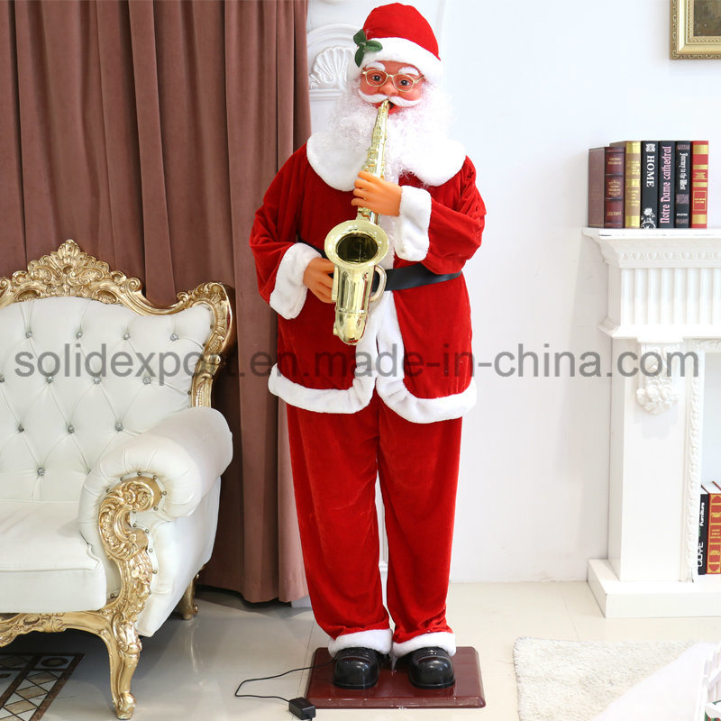 [Hot Item] 1 8m Electric Saxophone Music Dancing Santa Claus Christmas  Decoration for Shop Home Hotel Display