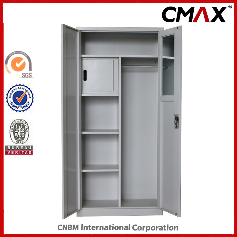 China Metal Cupboard With Mirror And Inside Safe Box Steel 2 Doors Filing Cabinet Cmax Fc02 009