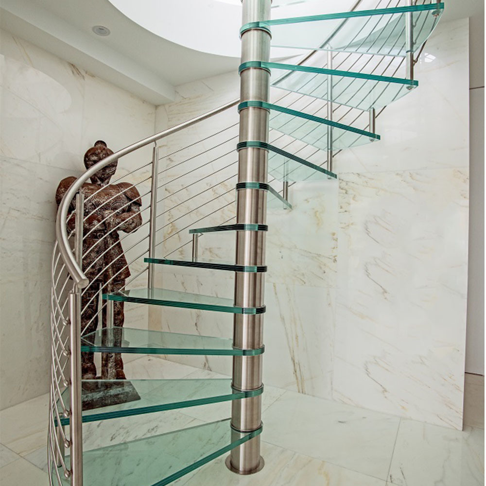 Best Price Stainless Steel Glass Spiral Staircase Home Design