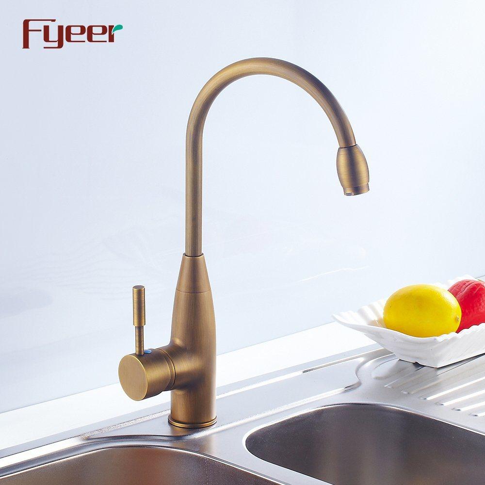 China Fyeer Brass Body High Arc Antique Brass Kitchen Sink Faucet