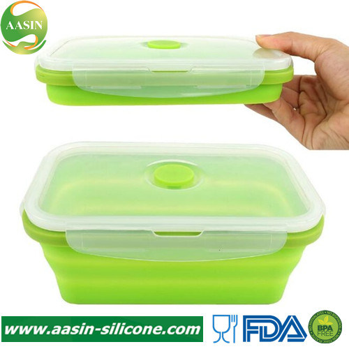 Portable Silicone Collapsible Portable Lunchbox Bowl Food Storage Box Container
