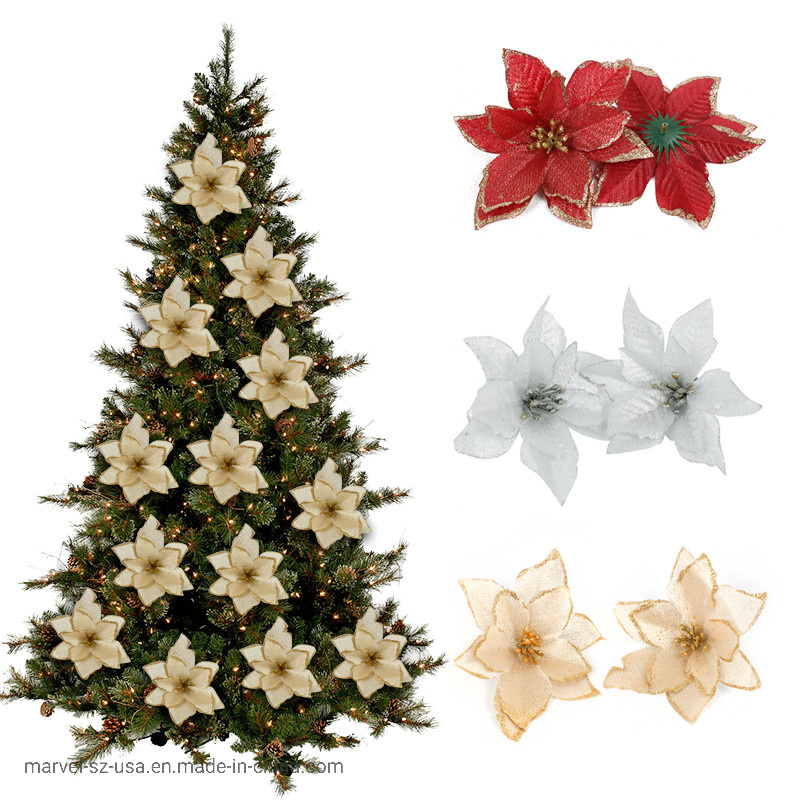 Red Glitter Flower Christmas Tree Ornaments Home Decor Party Supplies pictures & photos