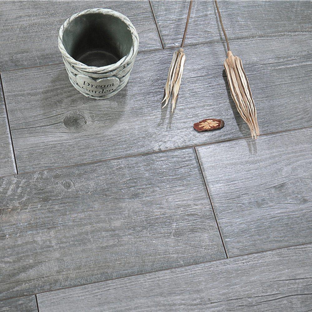Antique Style Dark Gray Wood Grain Tile
