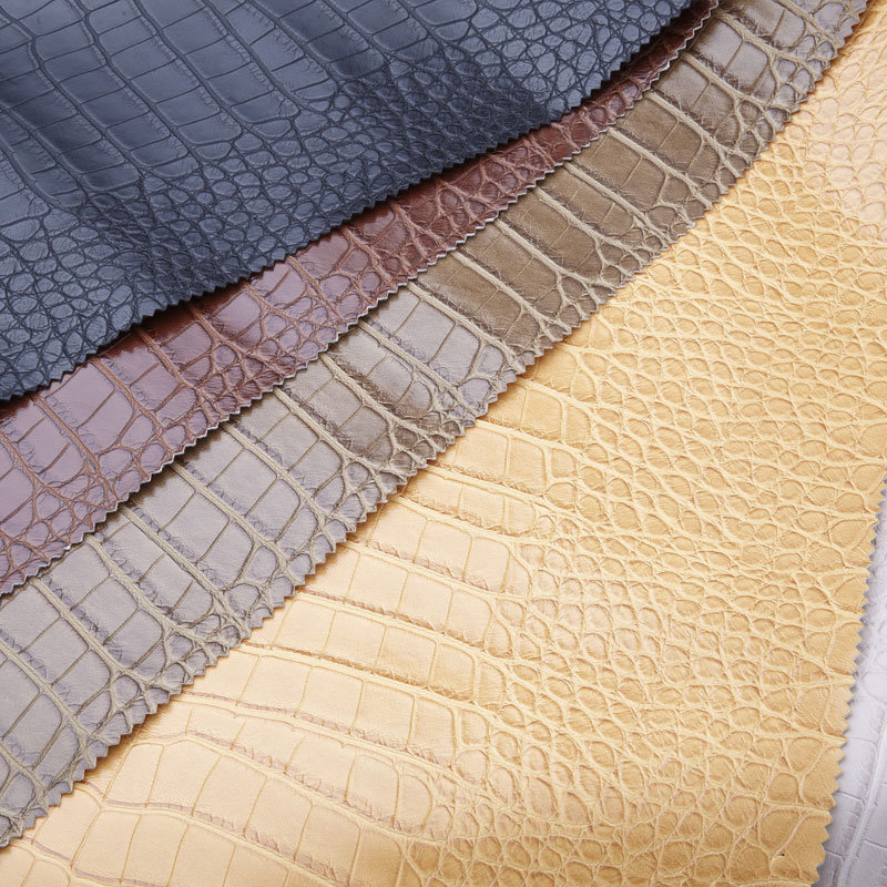 Crocodile Pattern PU Leather for Shoes and Bags (QDQ389)