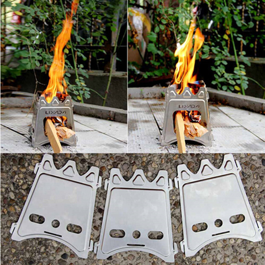 for Outdoor Cooking Camping Backpacking Portable Stainless Steel Outdoor Stove Lightweight Folding Wood Stove Pocket Alcohol Stove