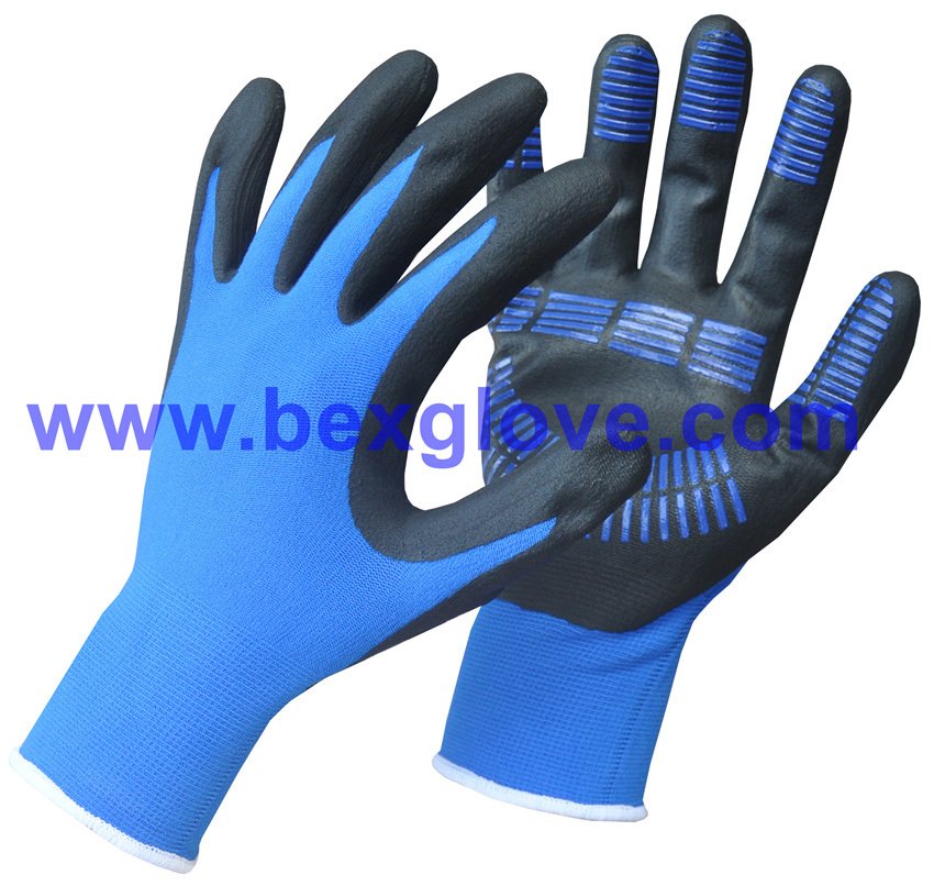 15gauge Nylon/Spandex Liner, Nitrile Coating, Micro-Foam, Color Dots Work Glove