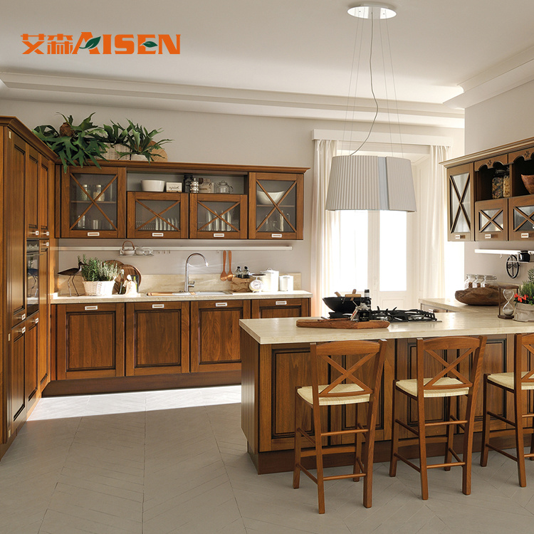 Hot Item America Canada Project Top Quality Standard Rustic Solid Wood Kitchen Cabinets