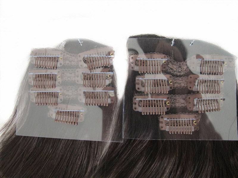 China Full Head 100 Human Hair Clip In Hair Extensions 18inches