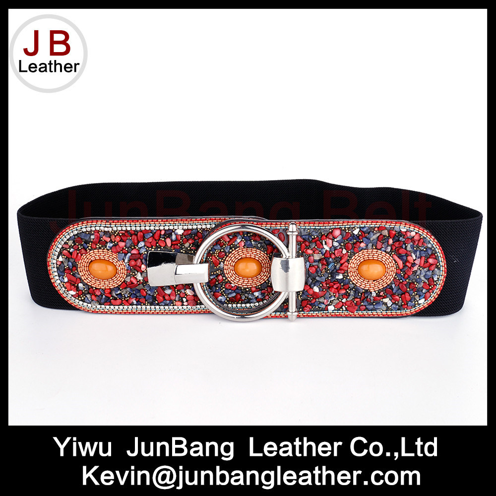 Fashion Ladies Wide Elastic PU Belt with Rhinestone pictures & photos
