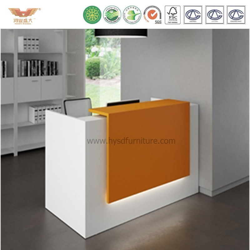 China Hot L Shaped Standing Beauty Nail Salon Metal Reception Desk Front