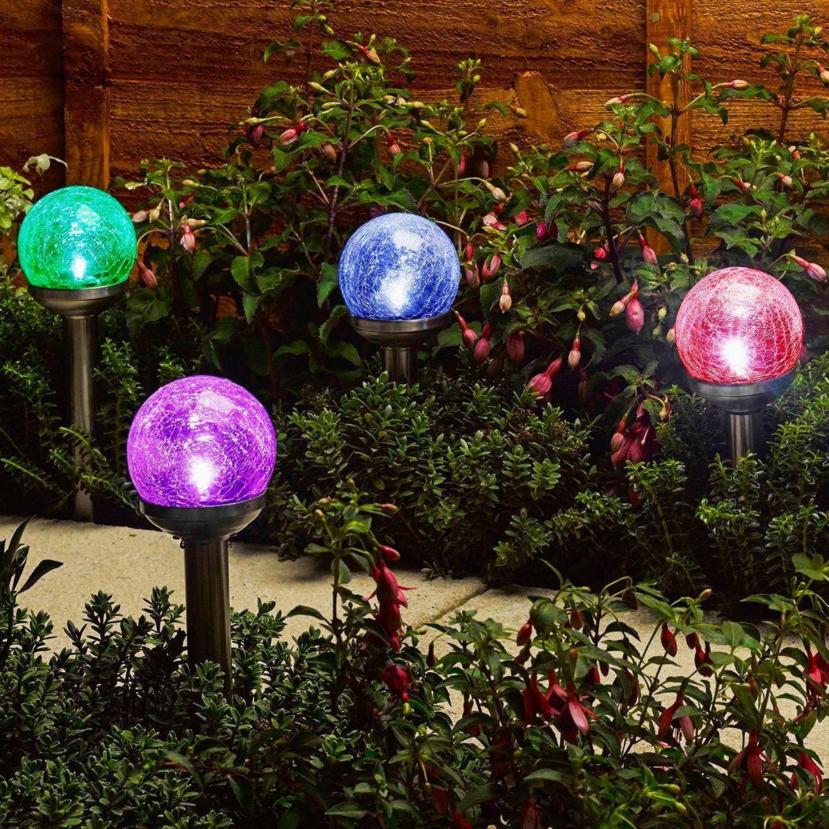 China Newest RGB Dual LED Crackle Glass Ball Solar Garden Lights ...