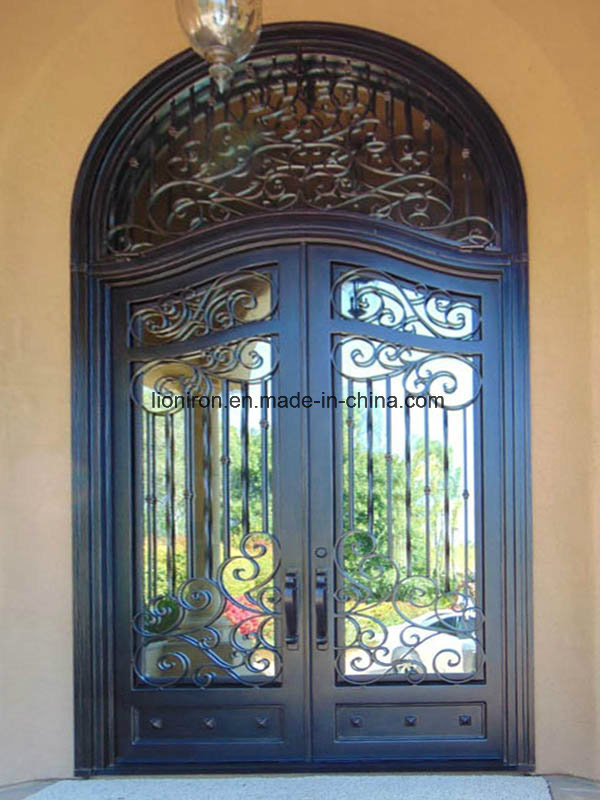 Modern Safety Exterior Door Wrought Iron Main Entrance Doors Grill Design