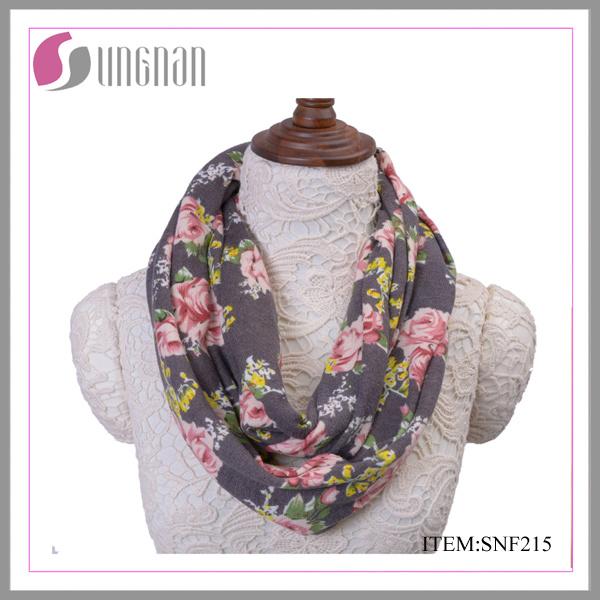 3527ab03a36 [Hot Item] Winter Warm Rose Printing Flannel Infinity Scarf Ladies  Neckerchief Hot Sale Shawl