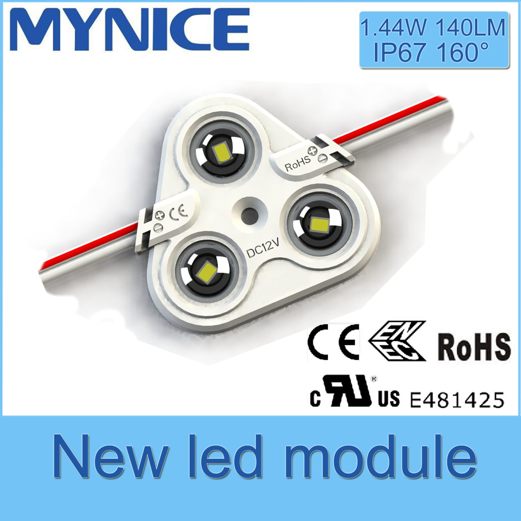 UL/Ce/RoHS 1.44W LED Injection Module with Lens High Brightness 5 Years Warranty Waterproof