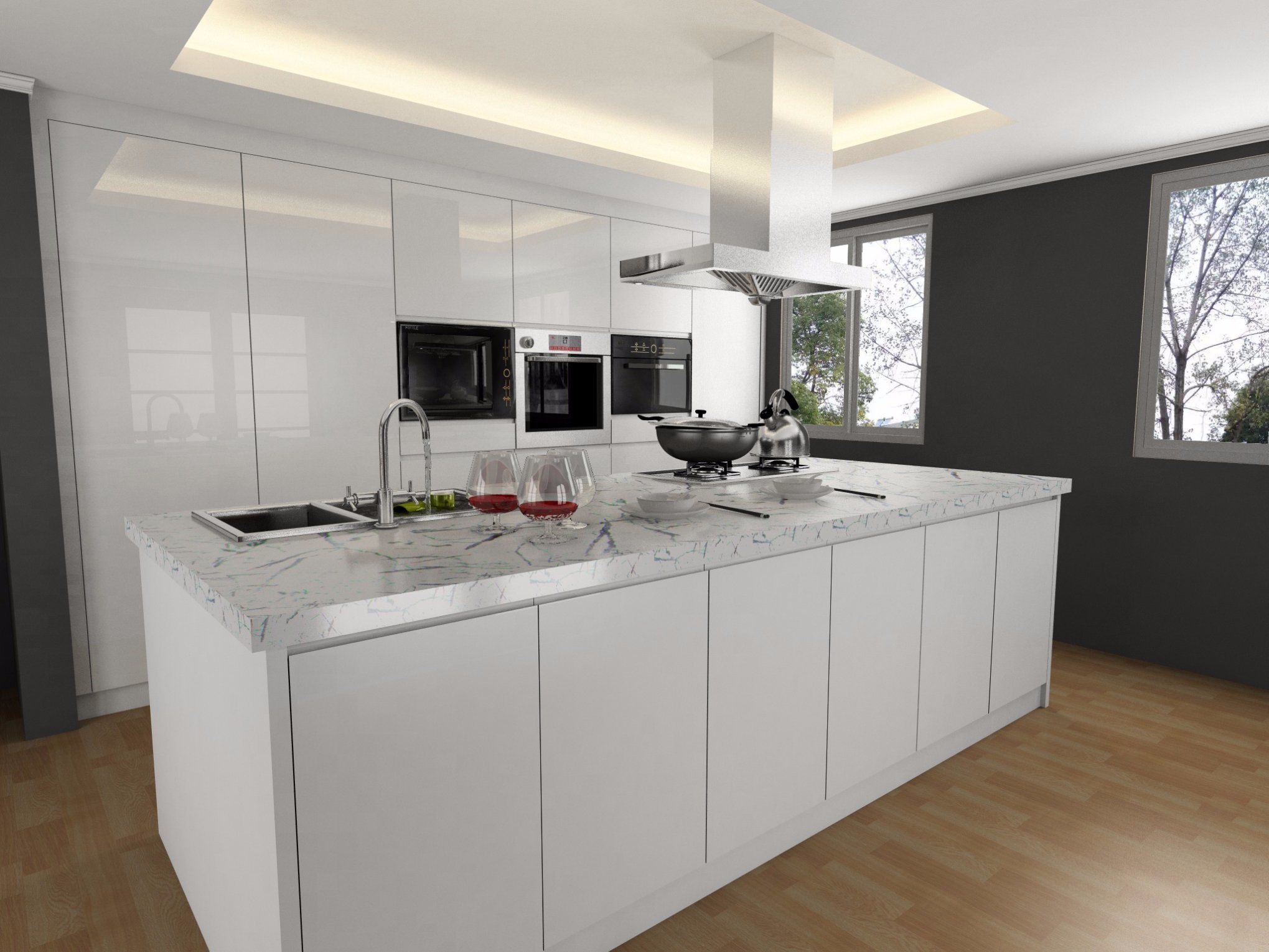 Hot Item Modern Plywood Carcass Mdf Lacquer Door Kitchen Cabinet Color Combinations