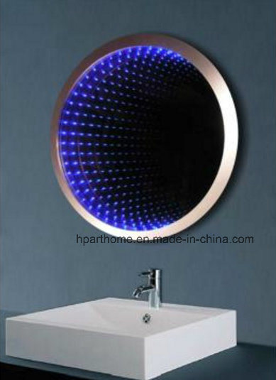 Modern Hotel Infinity RGB Lighted Bathroom Mirror with Button Switch