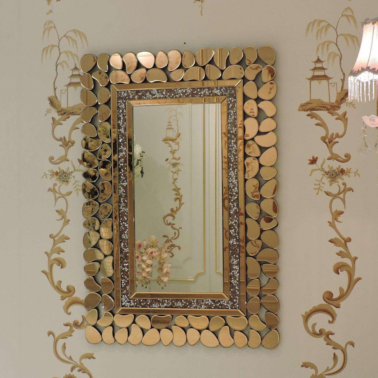 China New Arrival Large Rectangle Living Room Sparking Mirror Crushed Diamond Decorative Wall Mirror China Wall Mirror Crushed Diamond Wall Mirror