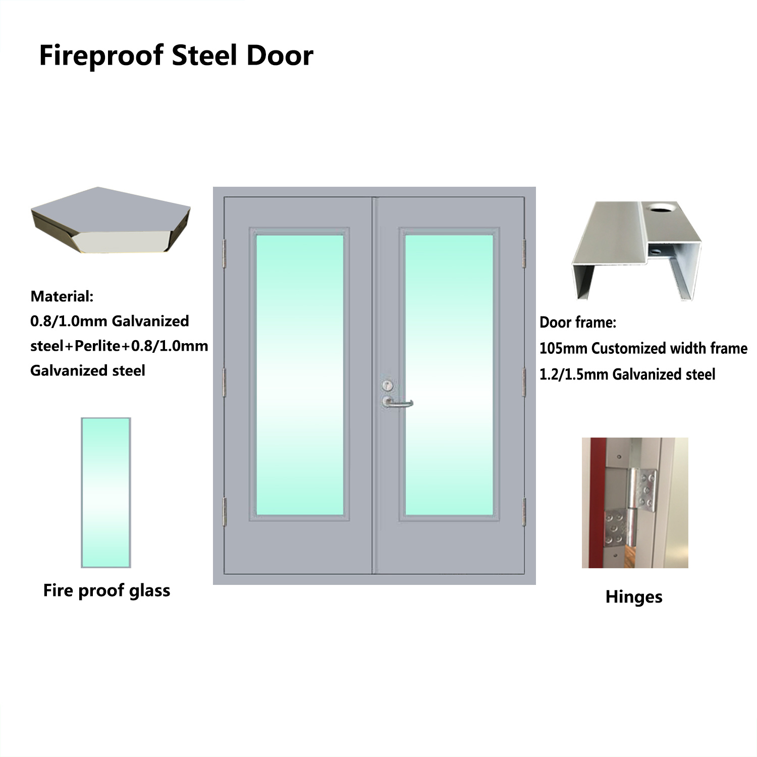 China 180 Min Rating Time Galvanized Steel Fire Proof Glass Door
