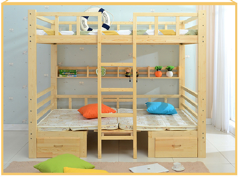 Nice Style Hot Selling Wooden Bunk Bed with Ladder Ark (M-X1034)