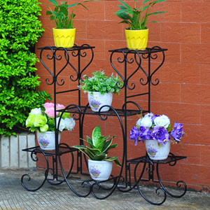 China High Quality 4 Tiers European Retro Style Indoor Outdoor Wrought Iron Plants Stand Flower Pots Holder Display Shelf 3 Colors Available