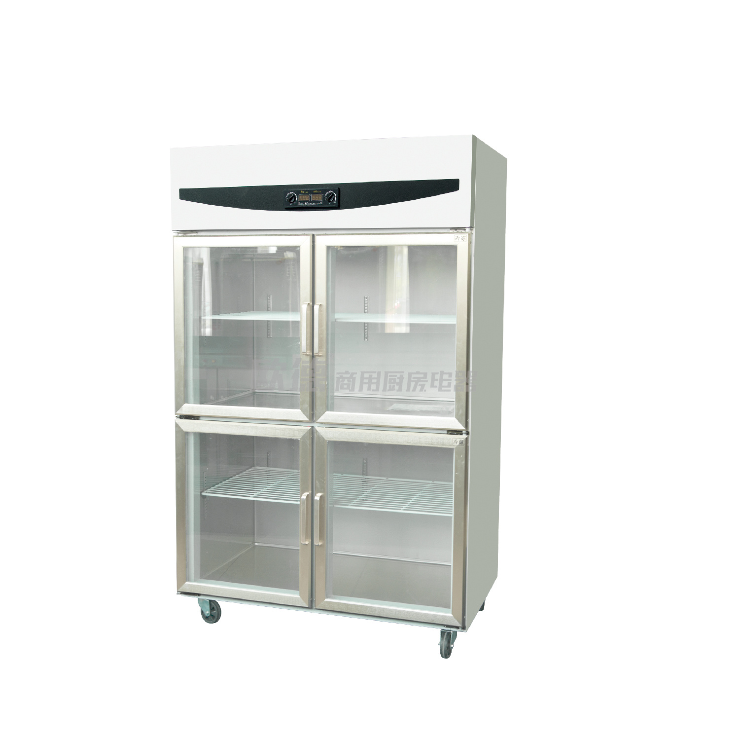 China Commercial Upright Electric Four Glass Door Showcase With