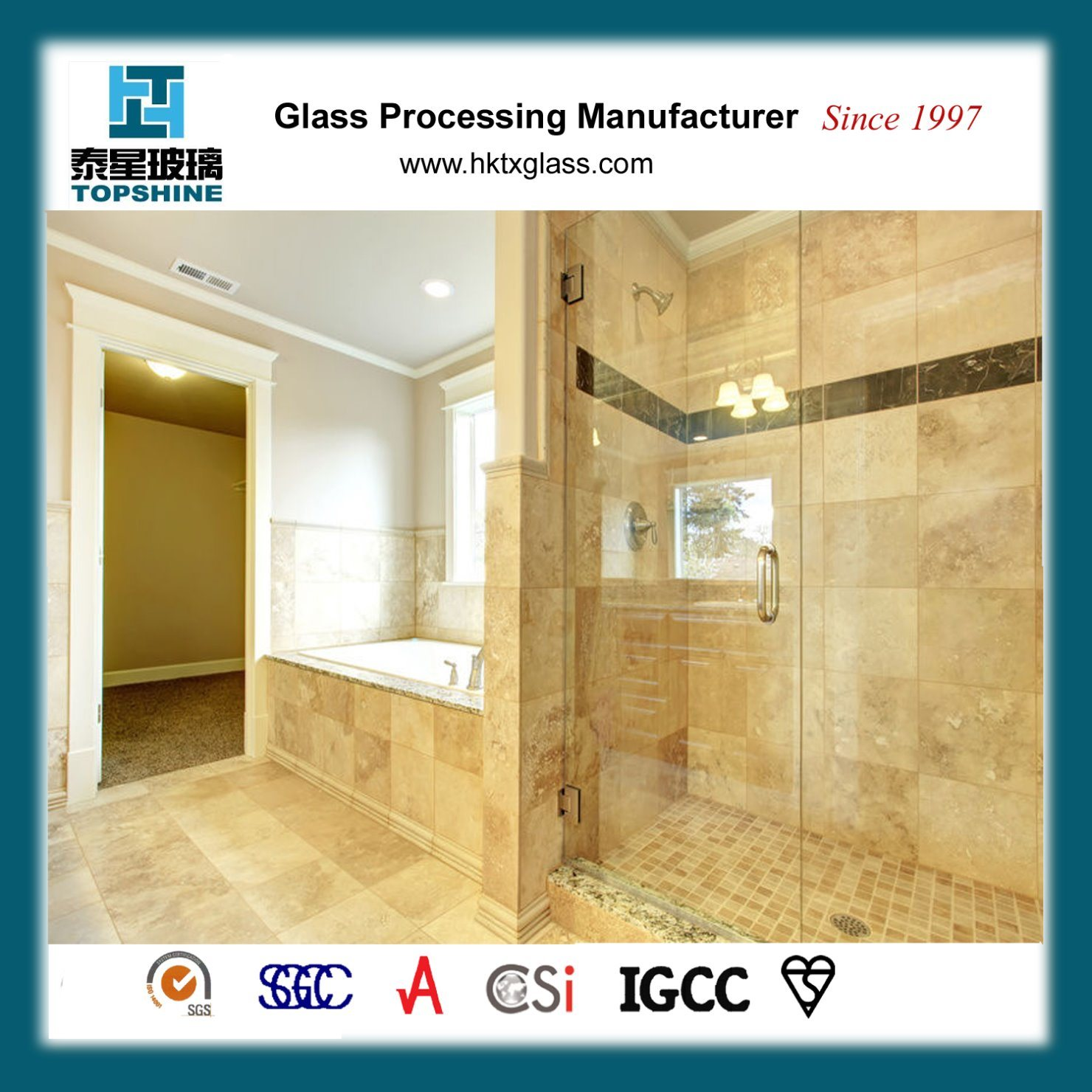 China Tempered Bathroom Frameless Glass Sliding Door For Hotel