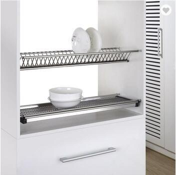2 Tiers Kitchen Dish Rack Wall Mounted Stainless Steel Drying Hardware