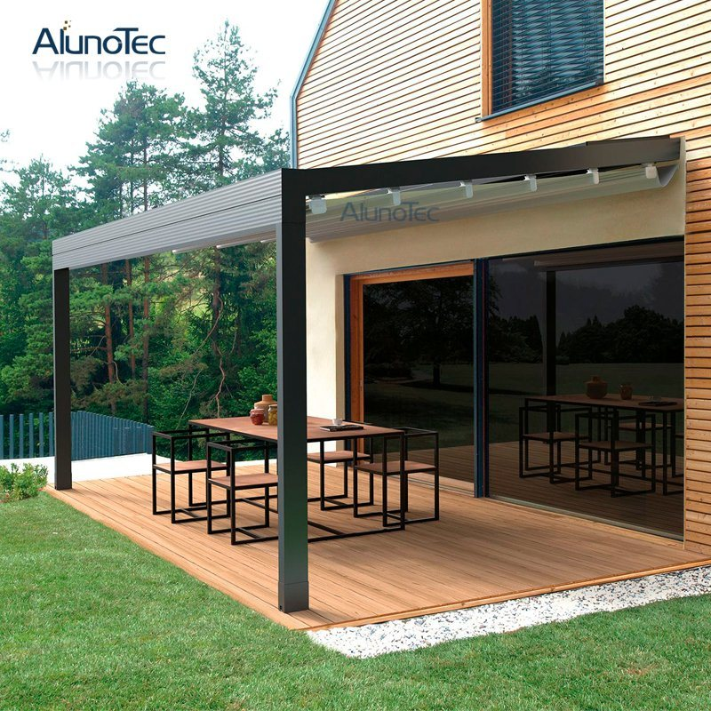 China New Design Awning Retracted Pergola Remote Controlled Porch Awning For Outdoor Patio China Retracted Pergola And Porch Awning Price