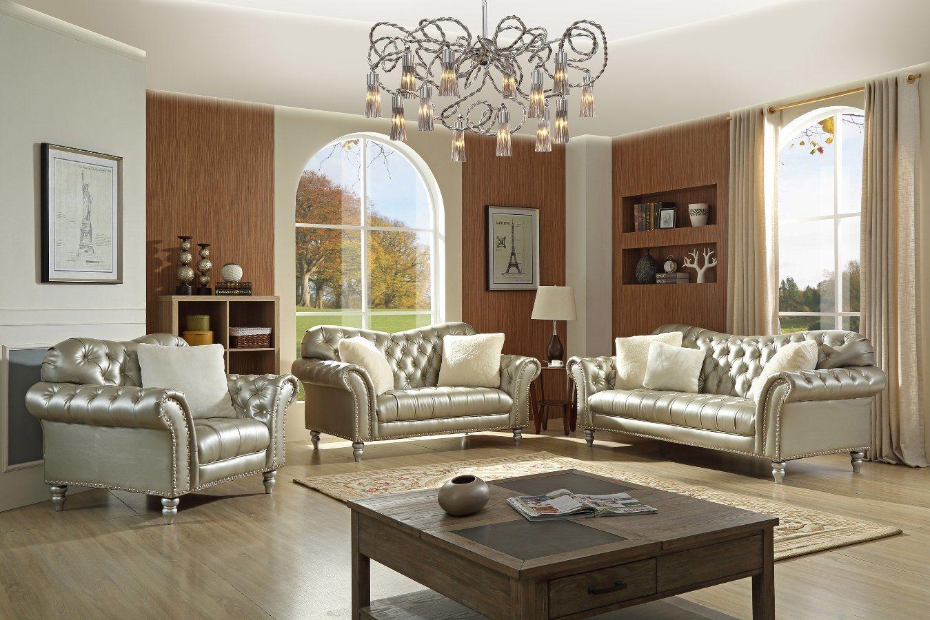 China Silver Leather Leisure Sofa Set