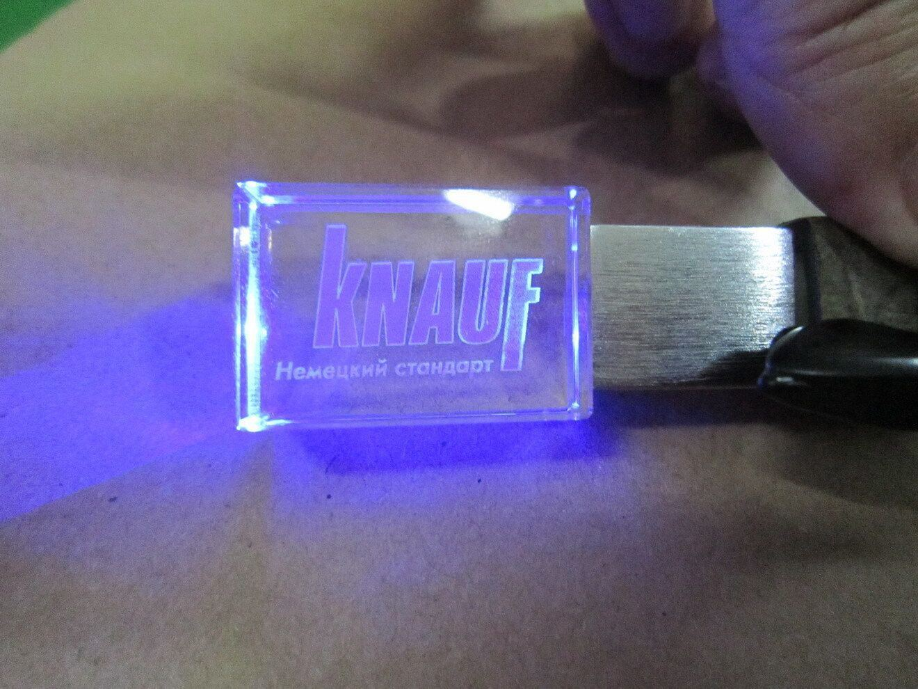 Custom 3D Logo Crystal USB Flash Drive 8GB with LED Light