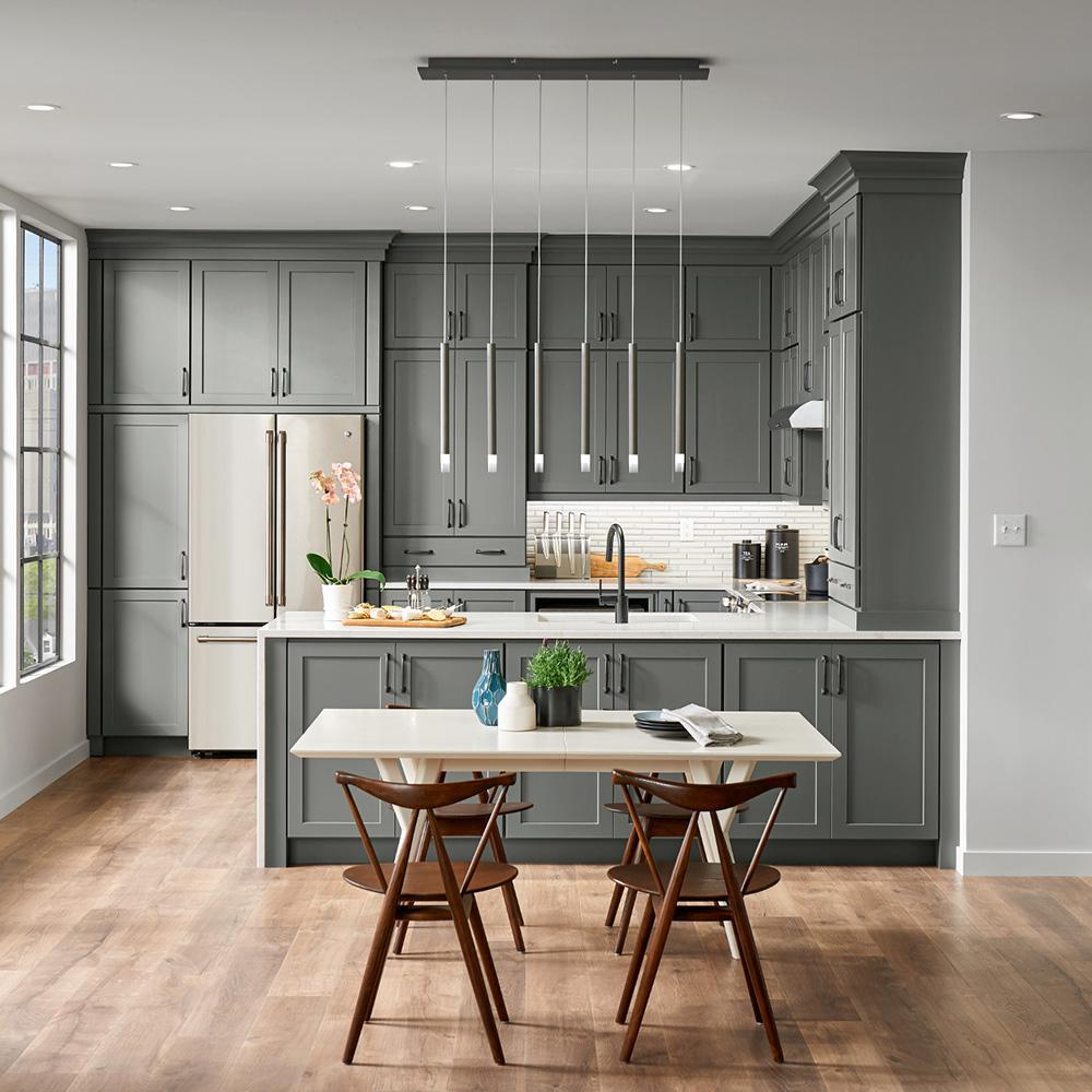 modern gray and white kitchen